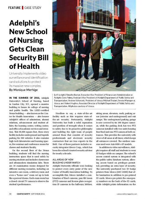 Adelphi's New School of Nursing Gets Clean Security Bill of Health