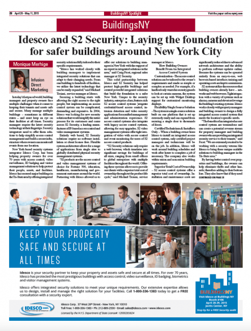 Idesco and S2 Security: Laying the foundation for safer buildings around New York City