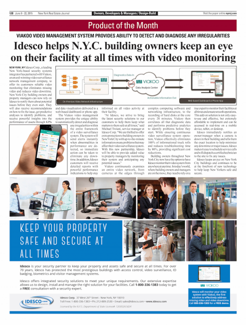 Idesco helps N.Y.C. building owners keep an eye on their facility at all times with video monitoring