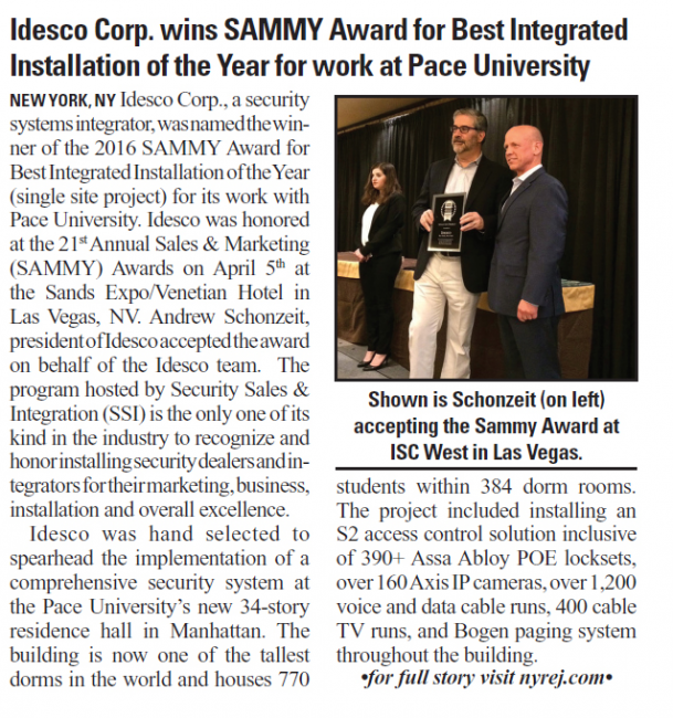 Idesco Corp. wins SAMMY Award for Best Integrated Installation of the Year for work at Pace University