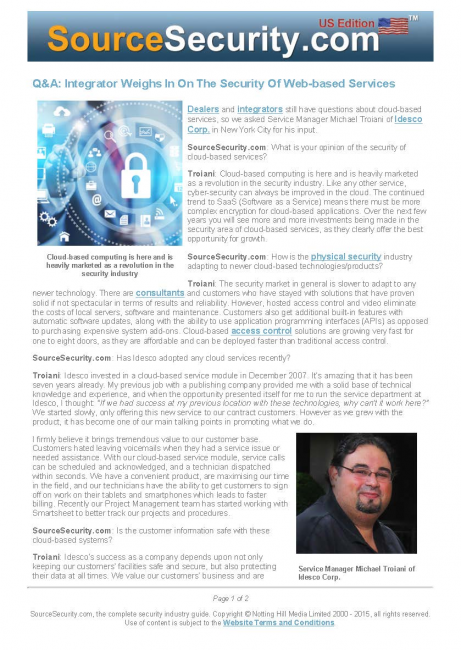 Idesco Weighs In On The Security Of Web-based Services